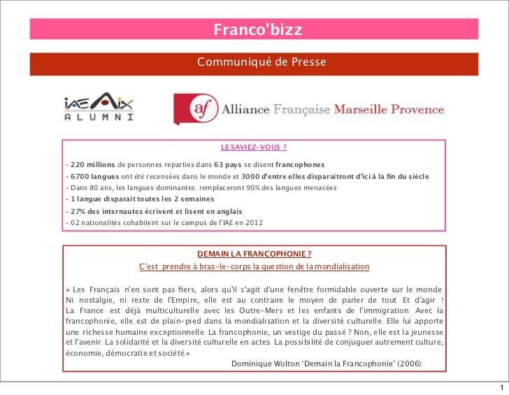 Franco'bizz                                       Communiqué de Presse                                              LE SAV...