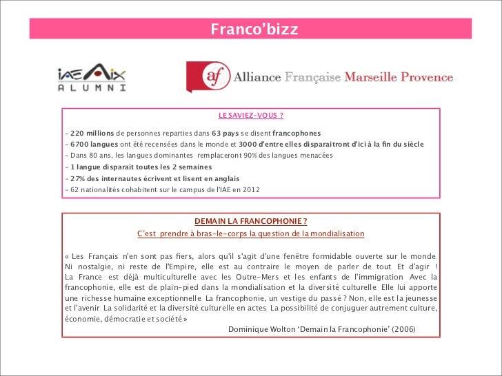 Franco'bizz                                              LE SAVIEZ-VOUS?- 220 millions de personnes reparties dans 63 pay...