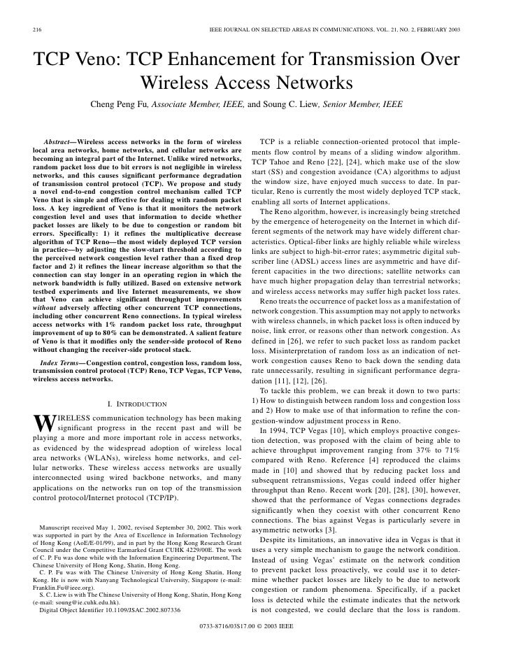 216                                                             IEEE JOURNAL ON SELECTED AREAS IN COMMUNICATIONS, VOL. 21,...