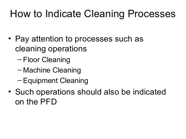 How to Indicate Cleaning Processes • Pay attention to processes such as cleaning operations – Floor Cleaning – Machine Cle...