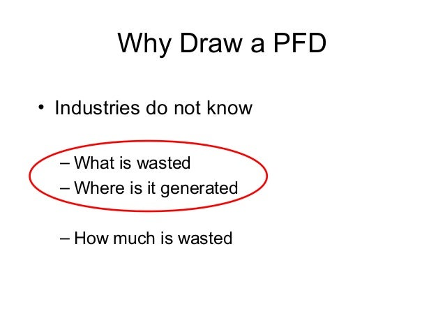 Why Draw a PFD • Industries do not know – What is wasted – Where is it generated – How much is wasted