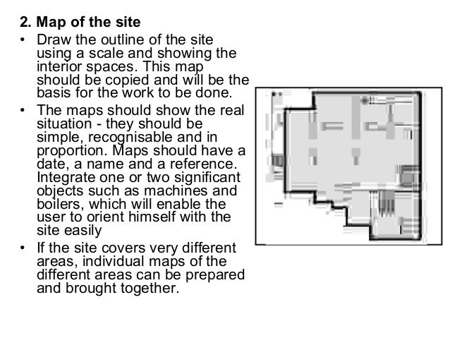 2. Map of the site • Draw the outline of the site using a scale and showing the interior spaces. This map should be copied...