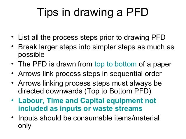 Tips in drawing a PFD • List all the process steps prior to drawing PFD • Break larger steps into simpler steps as much as...