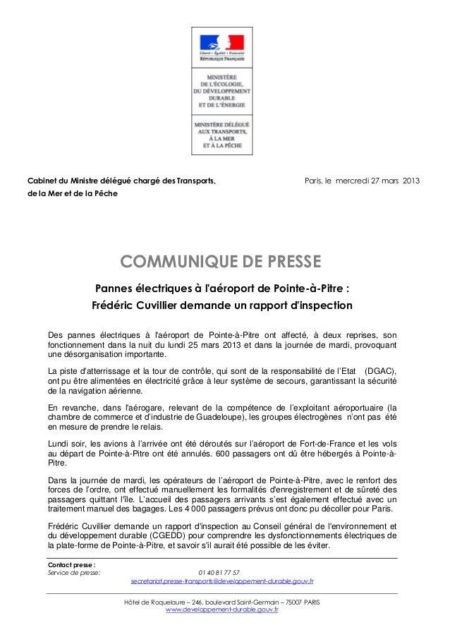 Cabinet du Ministre délégué chargé des Transports,                                   Paris, le mercredi 27 mars 2013de la ...
