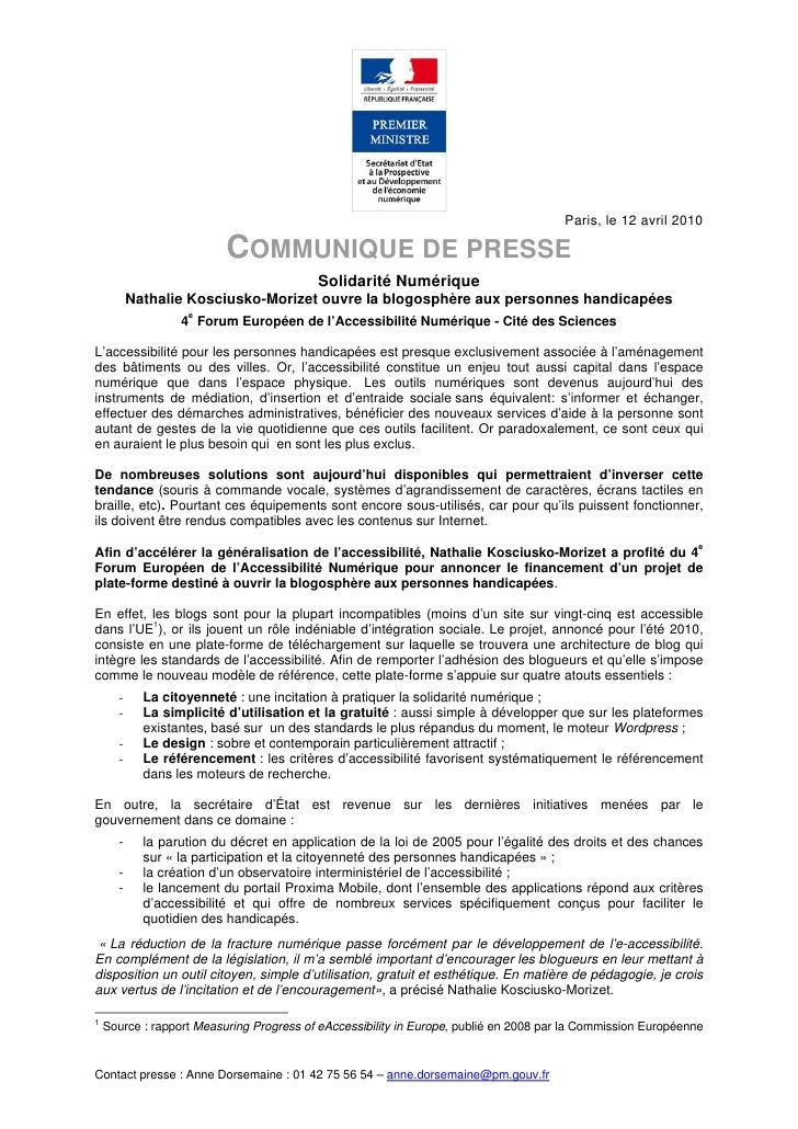 Paris, le 12 avril 2010                            COMMUNIQUE DE PRESSE                                           Solidari...