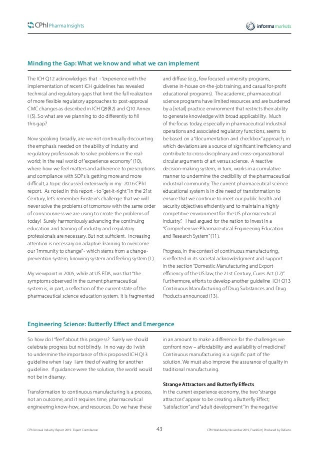 43CPhI Annual Industry Report 2019: Expert Contribution  CPhI Worldwide, November 2019, Frankfurt | Produced by Defacto M...