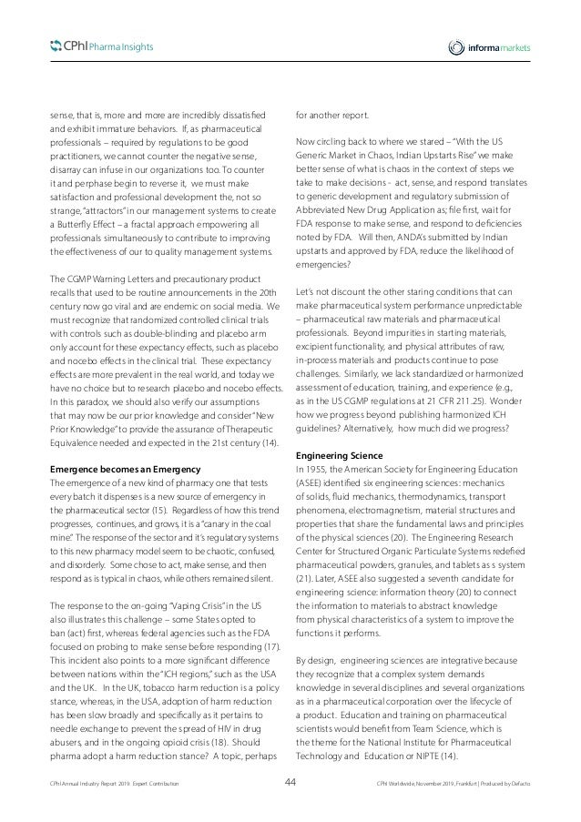 44CPhI Annual Industry Report 2019: Expert Contribution  CPhI Worldwide, November 2019, Frankfurt | Produced by Defacto s...