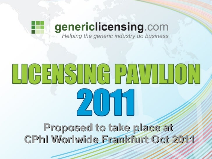 Proposed to take place atCPhI Worlwide Frankfurt Oct 2011