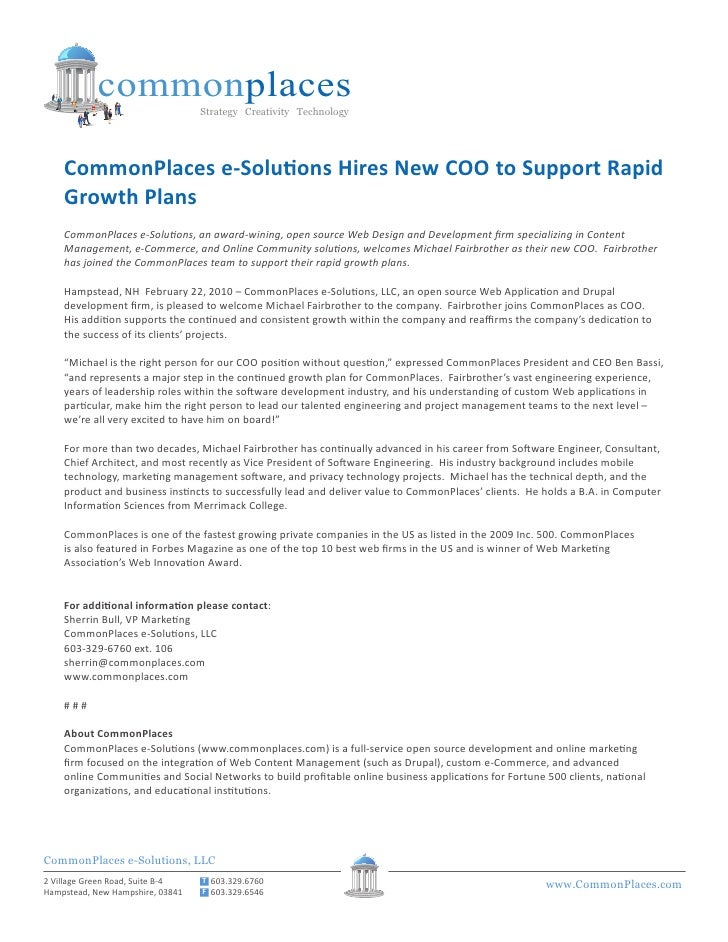 commonplaces                                   Strategy Creativity Technology         CommonPlaces e-Solutions Hires New C...