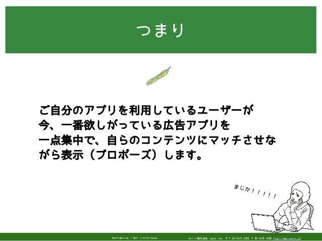 カイト株式会社 cayto inc. 〒 T 03 5475 3385F 03 5475 3386 http://www.cayto.jp/Confidential / Don't distribute つまり まじか!!!!! ご自分のアプ...