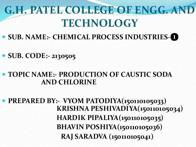 G.H. PATEL COLLEGE OF ENGG. AND TECHNOLOGY  SUB. NAME:- CHEMICAL PROCESS INDUSTRIES-❶  SUB. CODE:- 2130505  TOPIC NAME:...