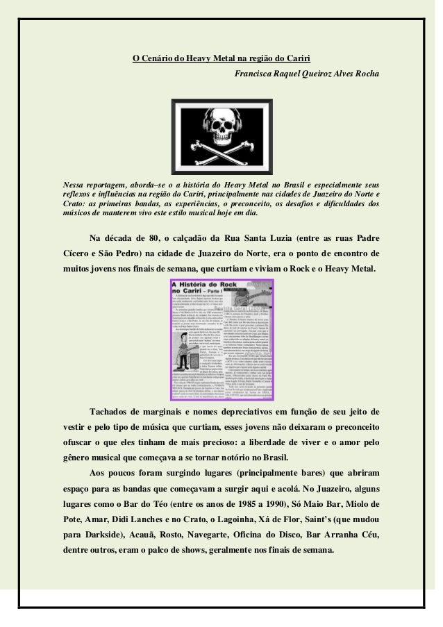 O Cenário do Heavy Metal na região do Cariri                                                  Francisca Raquel Queiroz Alv...