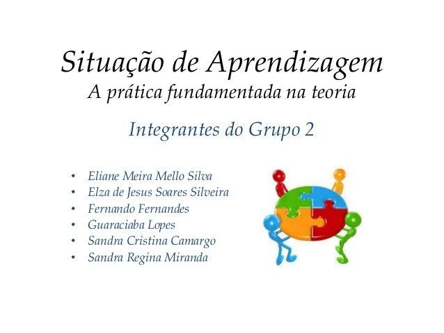 Situação de AprendizagemA prática fundamentada na teoriaIntegrantes do Grupo 2• Eliane Meira Mello Silva• Elza de Jesus So...