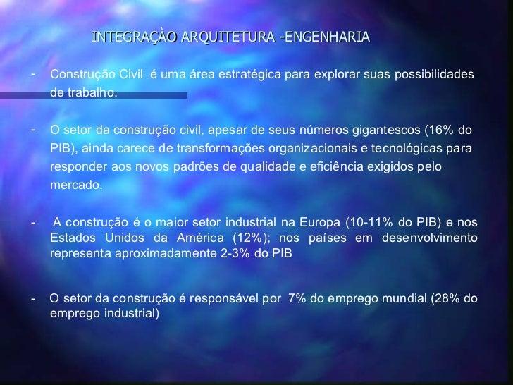 INTEGRAÇÀO ARQUITETURA -ENGENHARIA-   Construção Civil é uma área estratégica para explorar suas possibilidades    de trab...