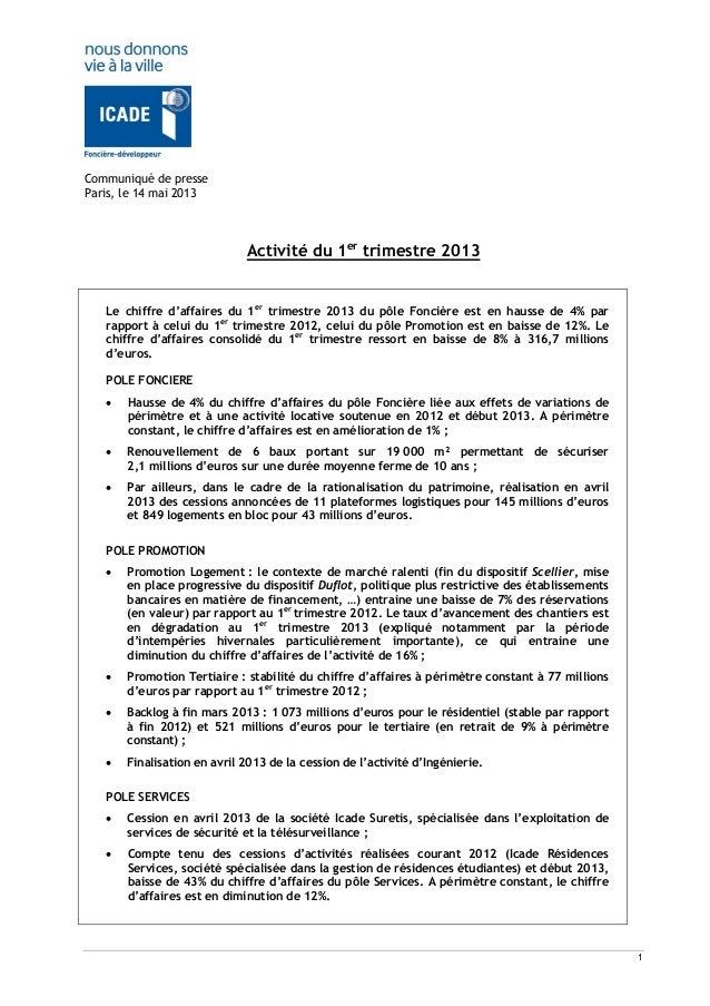 1Communiqué de presseParis, le 14 mai 2013Activité du 1ertrimestre 2013Le chiffre d'affaires du 1ertrimestre 2013 du pôle ...