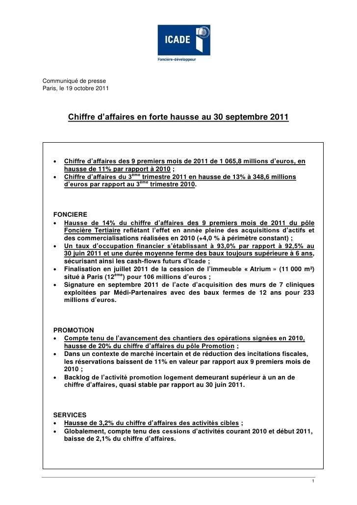 Communiqué de presseParis, le 19 octobre 2011         Chiffre d'affaires en forte hausse au 30 septembre 2011       Chiff...