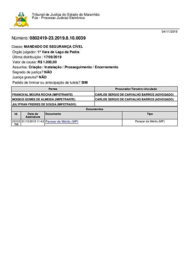 04/11/2019 Número: 0802419-23.2019.8.10.0039 Classe: MANDADO DE SEGURANÇA CÍVEL Órgão julgador: 1ª Vara de Lago da Pedra Ú...
