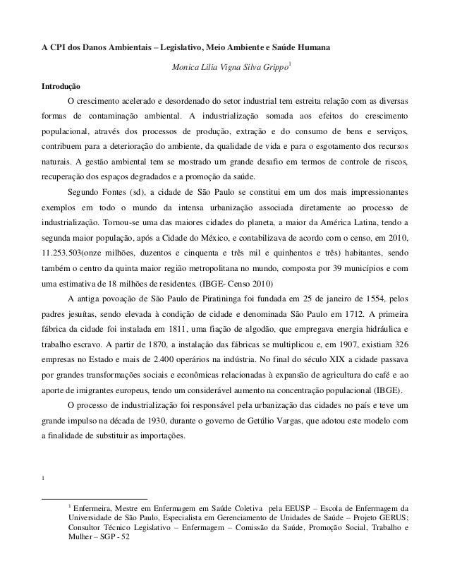 A CPI dos Danos Ambientais – Legislativo, Meio Ambiente e Saúde Humana Monica Lilia Vigna Silva Grippo1 Introdução  O cres...