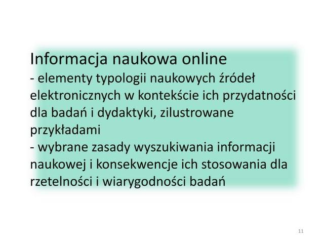 Informacja naukowa online - elementy typologii naukowych źródeł elektronicznych w kontekście ich przydatności dla badań i ...