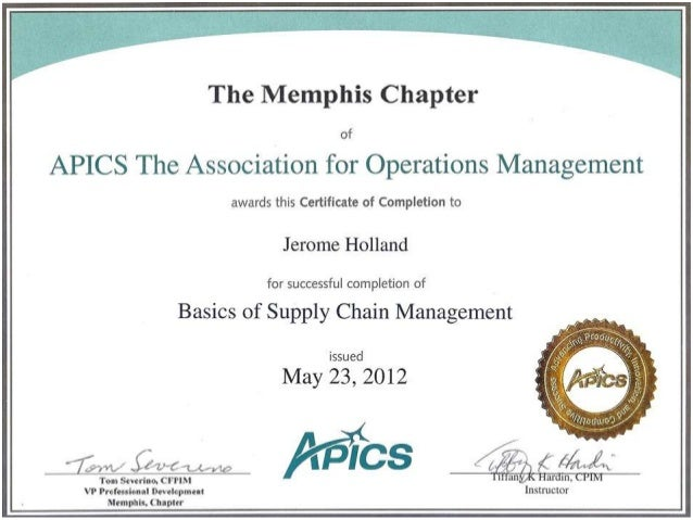 CPIM Basic of Supply Chain Management Certificate