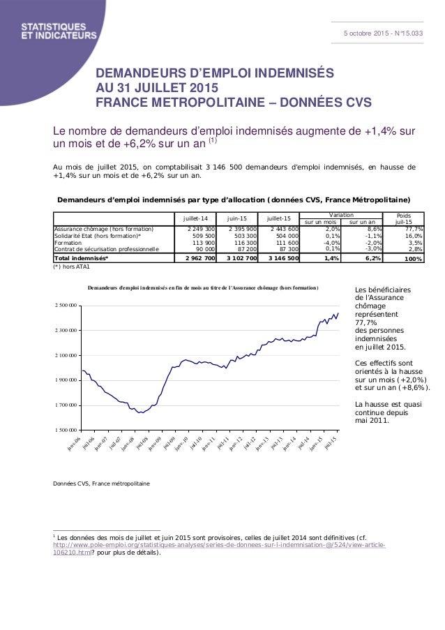 demandeurs d u0026 39 emploi indemnis u00e9s au 31 juillet 2015 france m u00e9tropolitai u2026