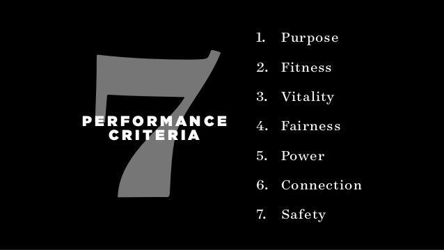 7 1. Purpose 2. Fitness 3. Vitality 4. Fairness 5. Power 6. Connection 7. Safety P E R F O R M A N C E C R I T E R I A