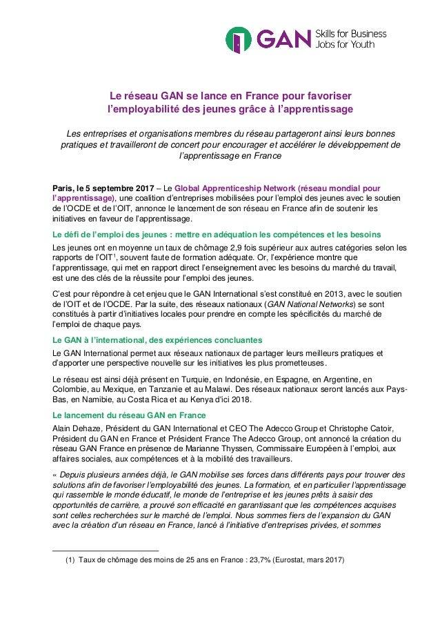 Le réseau GAN se lance en France pour favoriser l'employabilité des jeunes grâce à l'apprentissage Les entreprises et orga...
