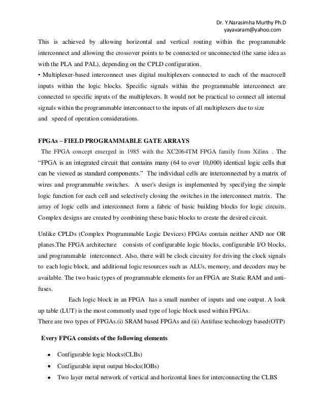 Unit I Cpld Fpga Architecture Applications