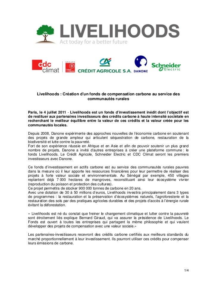 Livelihoods : Création d'un fonds de compensation carbone au service des                                communautés rurale...