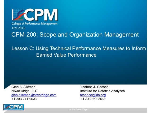 CPM	IPM	2016	Rights	Reserved	by	the	Organization	 on	the	Cover	Page IPM	2016 CPM-200: Scope and Organization Management Le...