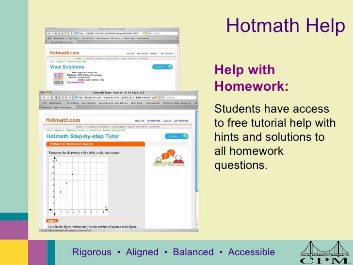 cpm homework help core connections algebra