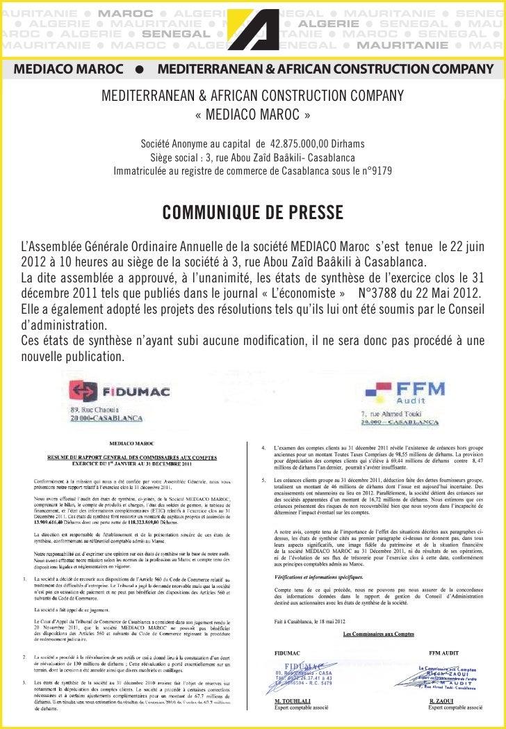 MEDITERRANEAN & AFRICAN CONSTRUCTION COMPANY                             «MEDIACO MAROC»                        Société ...