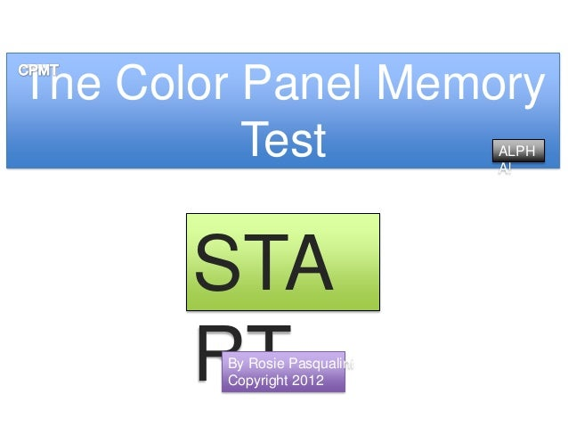 The Color Panel Memory          Test                ALPH                              A!       STA       RT        By Rosi...