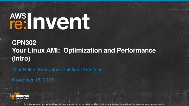 CPN302 Your Linux AMI: Optimization and Performance (Intro) Thor Nolen, Ecosystem Solutions Architect November 15, 2013  ©...