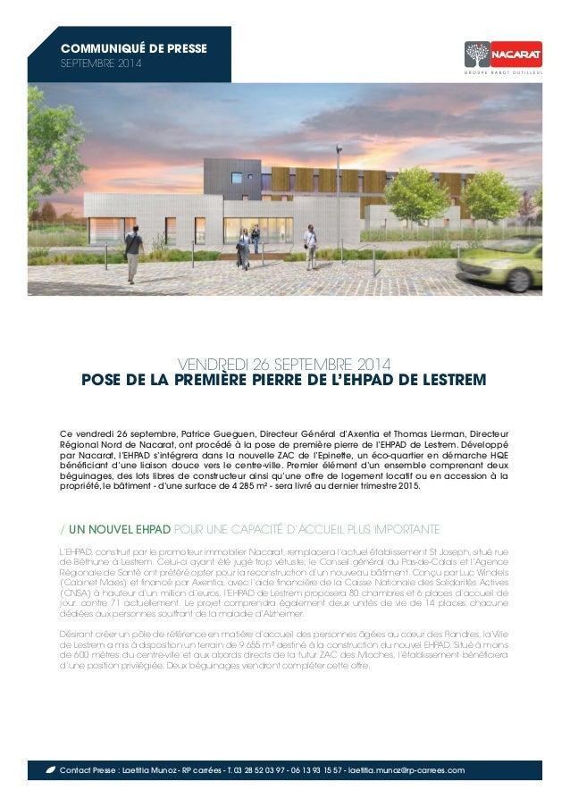 VENDREDI 26 SEPTEMBRE 2014  POSE DE LA PREMIÈRE PIERRE DE L'EHPAD DE LESTREM  Ce vendredi 26 septembre, Patrice Gueguen, D...
