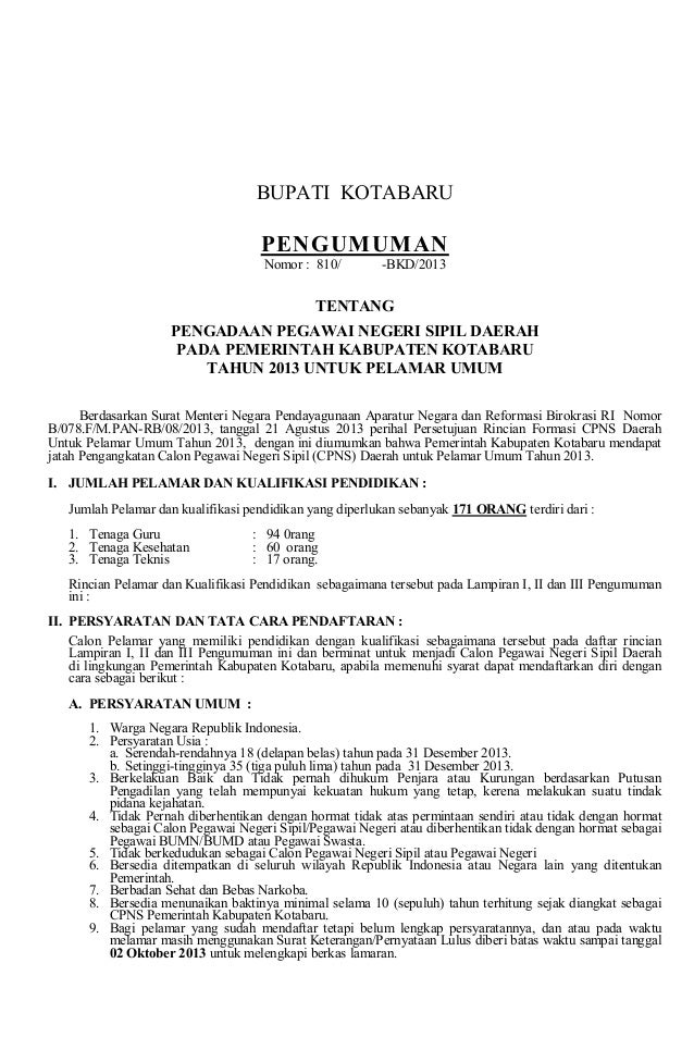 BUPATIKOTABARU PENGUMUMAN Nomor:810/ BKD/2013 TENTANG PENGADAANPEGAWAINEGERISIPILDAERAH PADAPEMERINTAHKA...