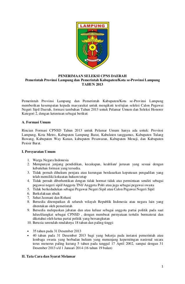 1 PENERIMAAN SELEKSI CPNS DAERAH Pemerintah Provinsi Lampung dan Pemerintah Kabupaten/Kota se-Provinsi Lampung TAHUN 2013 ...