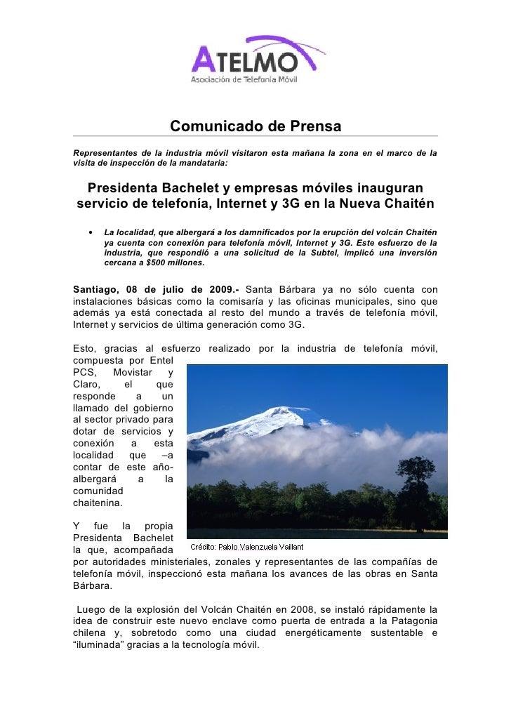 Comunicado de Prensa Representantes de la industria móvil visitaron esta mañana la zona en el marco de la visita de inspec...