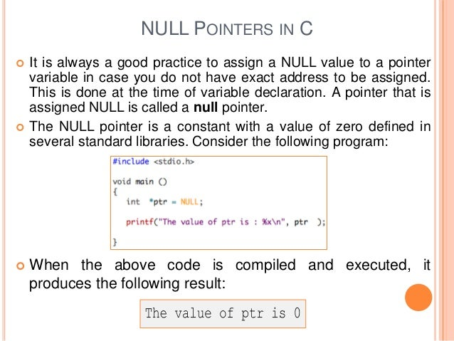 C null pointer vs void pointer.