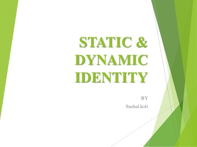 STATIC & DYNAMIC IDENTITY BY Snehal koli