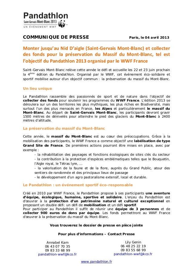 COMMUNIQUE DE PRESSE Paris, le 04 avril 2013Monter jusqu'au Nid D'aigle (Saint-Gervais Mont-Blanc) et collecterdes fonds p...