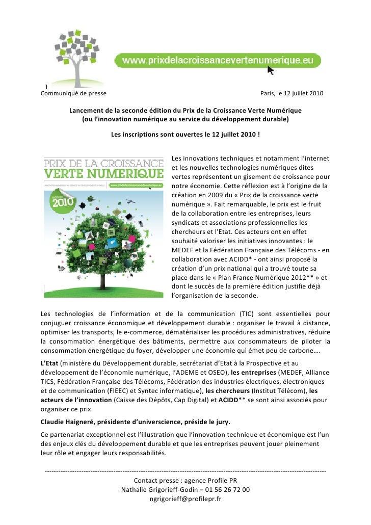 Communiquédepresse                                                                          Paris,le12juillet2010...