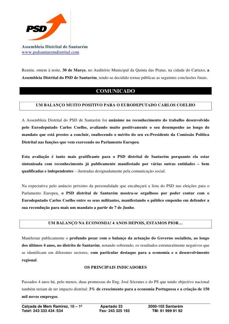Assembleia Distrital de Santarém www.psdsantaremdistrital.com   Reuniu, ontem à noite, 30 de Março, no Auditório Municipal...