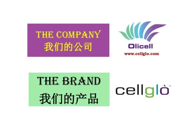 THE COMPANY 我们的公司 THE BRAND 我们的产品 www.cellglo.com