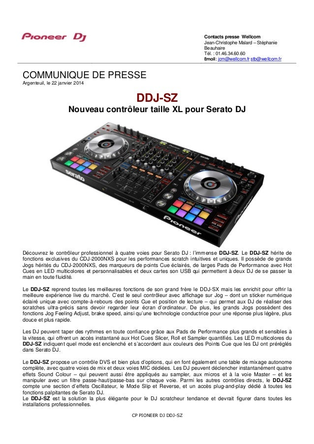 ddj sz pioneer le contr leur pro taille xl pour serato dj. Black Bedroom Furniture Sets. Home Design Ideas