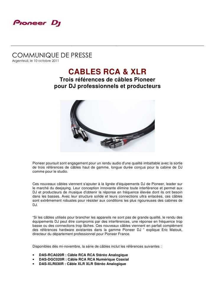 COMMUNIQUE DE PRESSEArgenteuil, le 10 octobre 2011                                   CABLES RCA & XLR                     ...