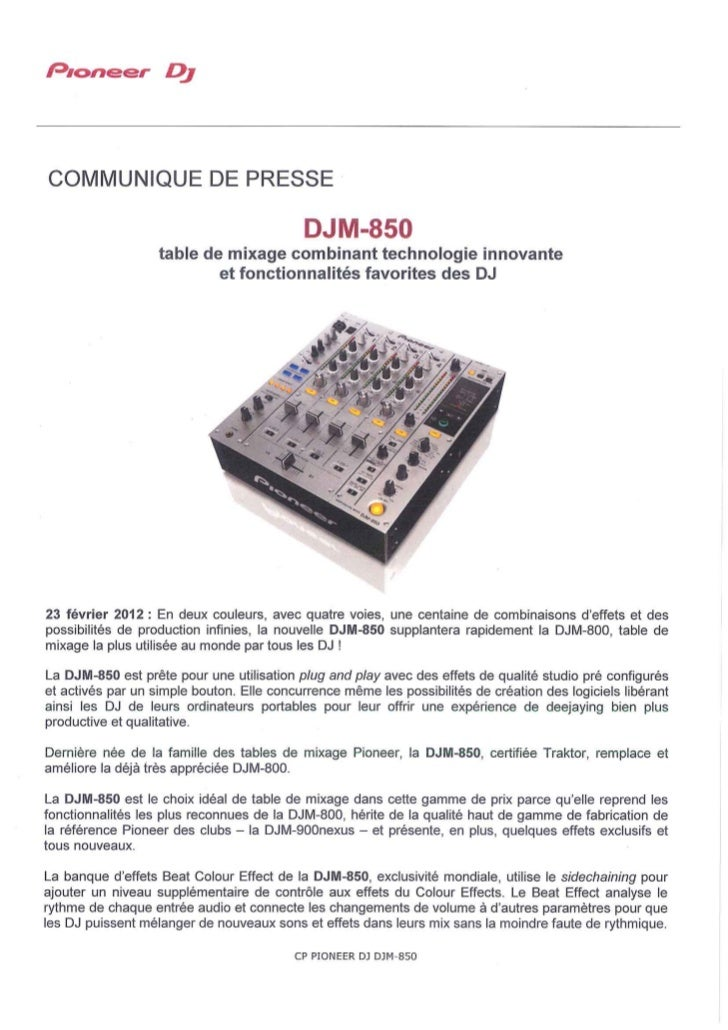 DJM-850 : nouvelle table de mixage incluant, en 1ere mondiale, la banque d'effets Beat Colour Effect