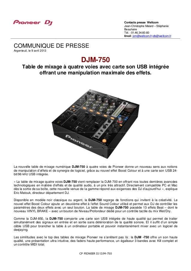 Djm 750 table de mixage 4 voies avec carte son usb int gr e - Table de mixage avec carte son integree ...
