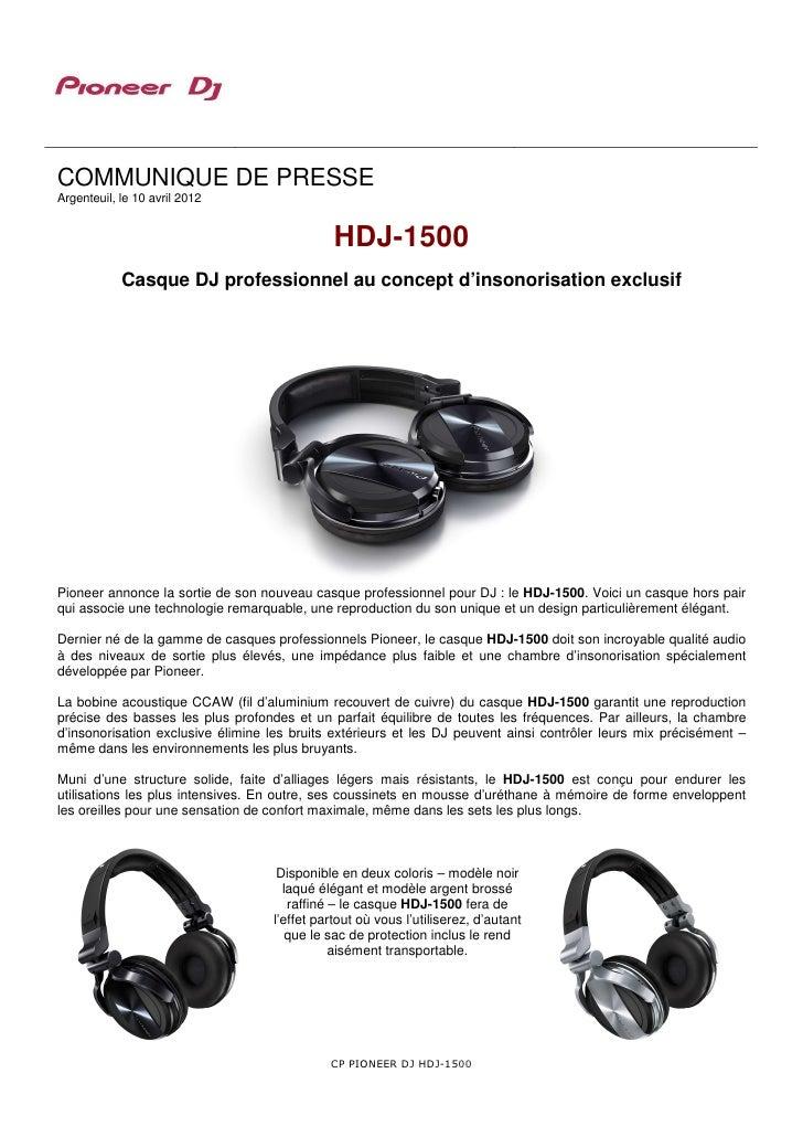 COMMUNIQUE DE PRESSEArgenteuil, le 10 avril 2012                                              HDJ-1500            Casque D...