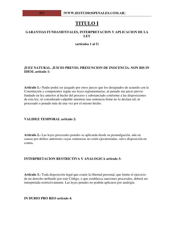 IEP              [WWW.IESTUDIOSPENALES.COM.AR]                                         TITULO I  GARANTIAS FUNDAMENTALES, ...
